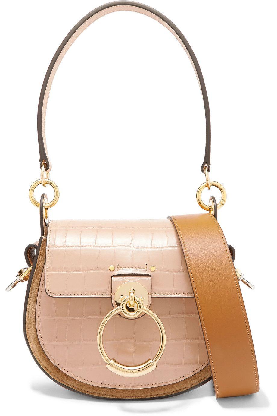 c205777e4310cc CHLOÉ Tess small croc-effect leather and suede shoulder bag - gold  hardware, light pink crocodile skin, shoulder bag, cross body bag