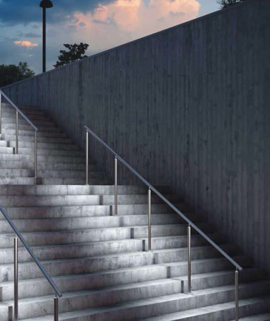 Lighting Basement Washroom Stairs: Metal Handrail / With Integrated LED Lighting RAILING