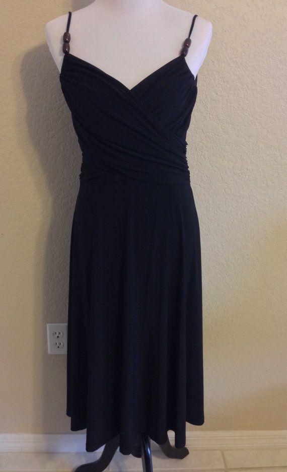 Vintage Sexy Spaghetti Strap Black Dress Size 8 by Oldtonewjewels