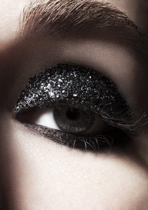 Smokey eye with black glitter on lids!