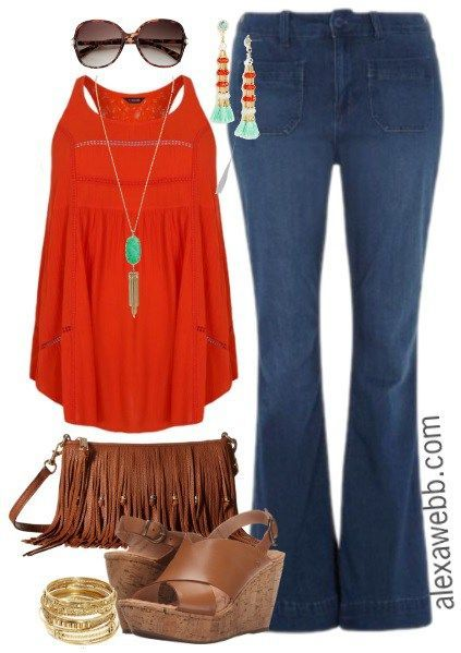 Plus Size Flared Jeans 3 Outfit Ideas