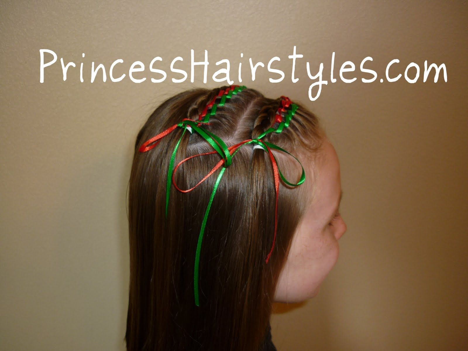 Christmas hairstyle with ribbons Tree braids Pinterest