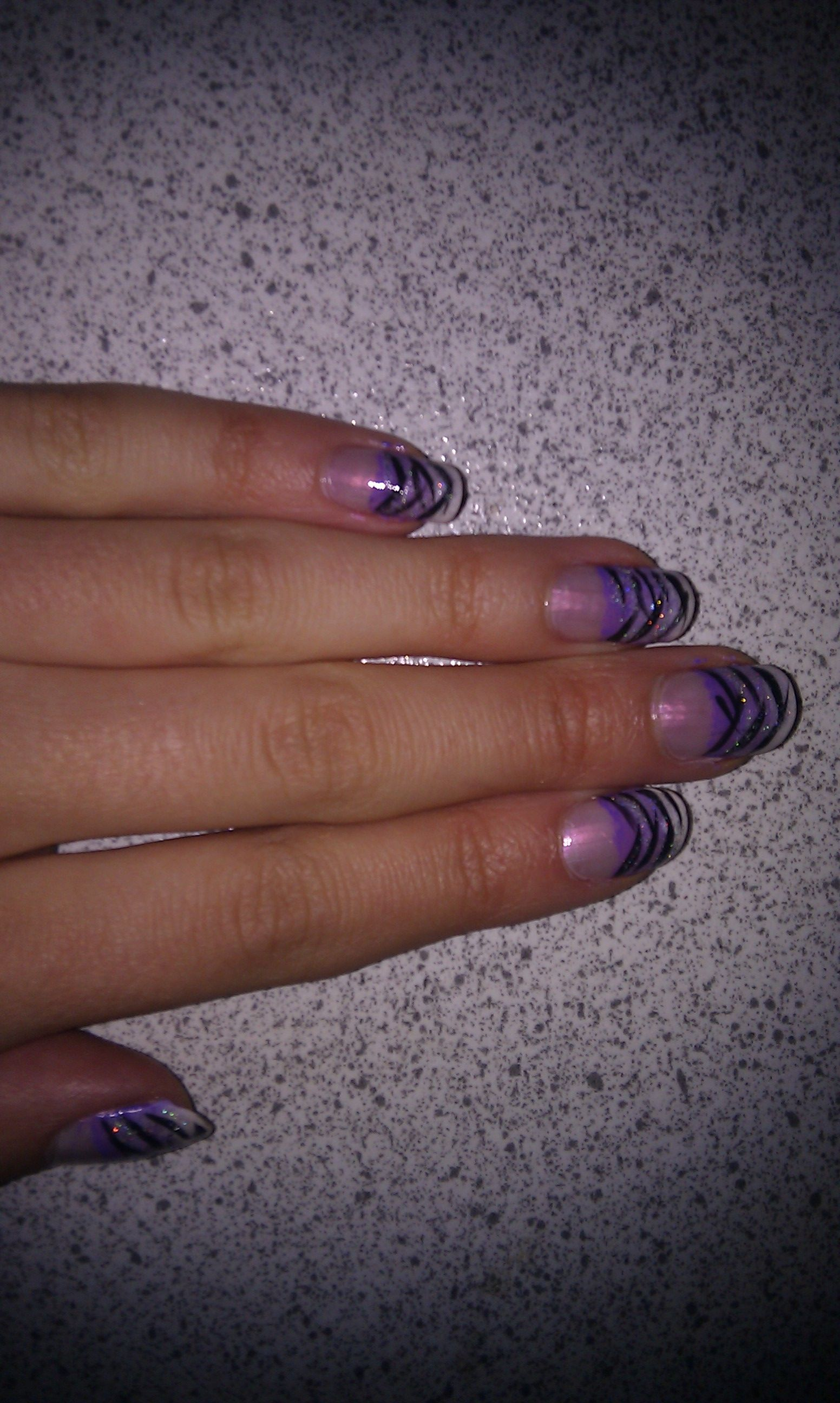 My result, trying out the purple zebra nails, I pinned. Instead of ...