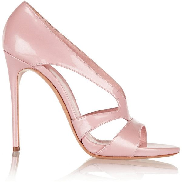 Casadei Patent-leather sandals ($300) ❤ liked on Polyvore featuring shoes, sandals, heels, calçado, casadei, pastel pink, pink heel sandals, ankle wrap sandals, ankle strap heel sandals and patent leather sandals