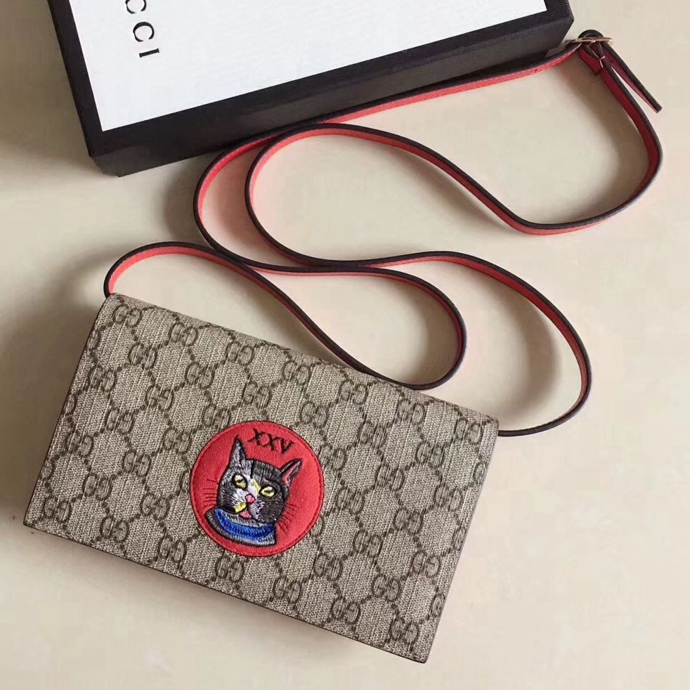 a5a8aa6ceaa3 Gucci GG Supreme Cat Mini Chain Bag 499385 Red 2018 | Gucci 2018 ...