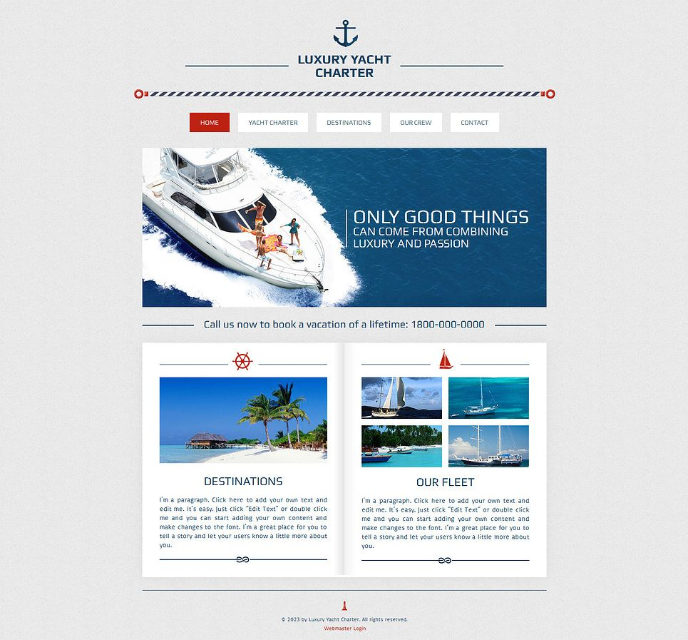 Yachting Wix Website Template #47285