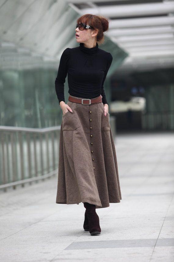 9af241e7dc875 Graceful Camel Wool Big Sweep Long Maxi Skirt - NC199 on Etsy ...