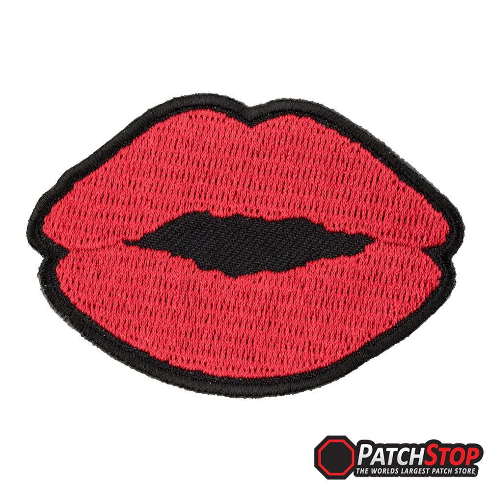 Women S Red Lips Red Lipstick Patch A Pair Of Red Kissing Lips