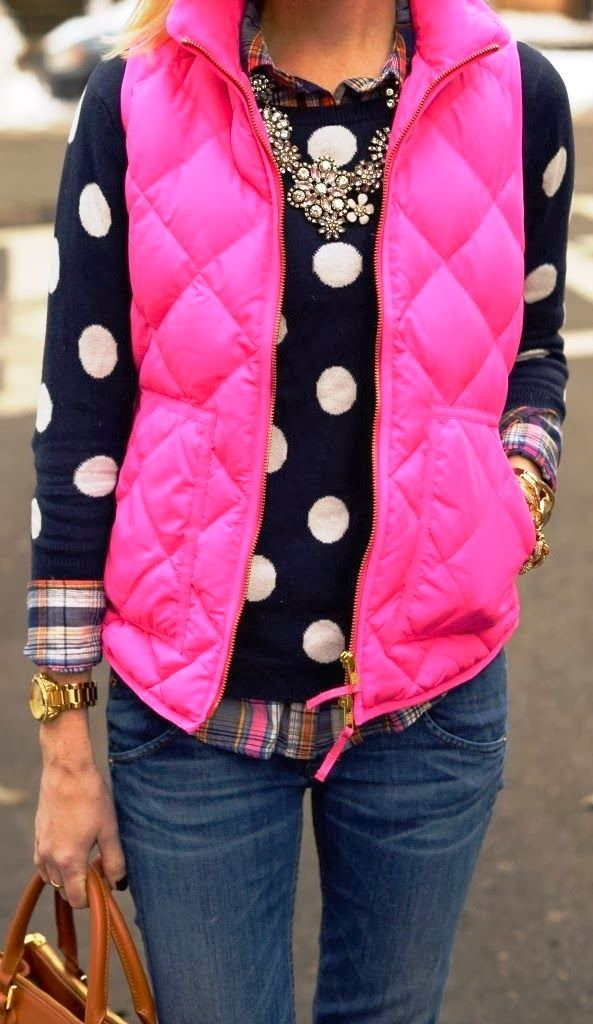 see more Fashionable Pink Comfy Vest with Cute Sweater, Jeans, Shirt and Accessories