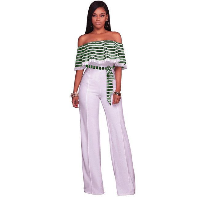42ec867983d New Casual Chiffon Strapless Jumpsuit Women Sexy High Waist Ruffles Jumpsuit  Ladies Pleated Off Shoulder Long Romper Plus Size. Hollow Out Pleated  Striped ...