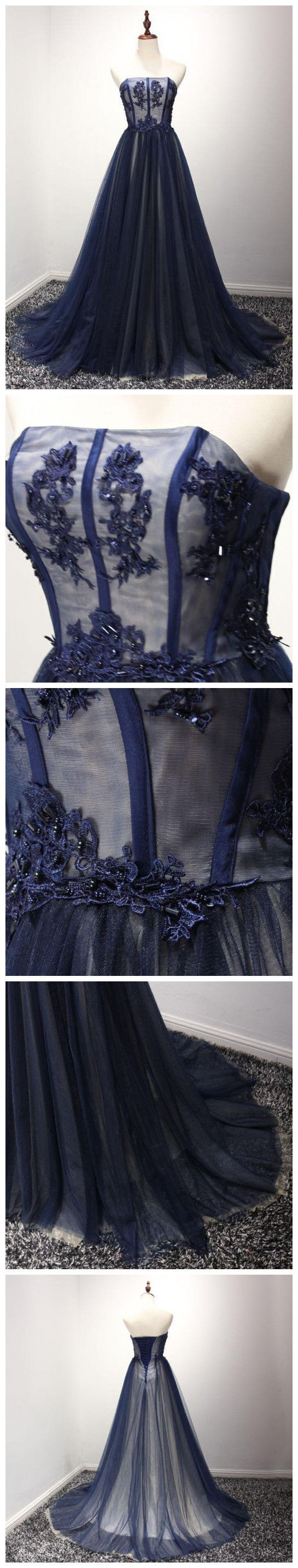 Stunning Prom Dress Navy Blue Prom Evening Dressball Gown Prom