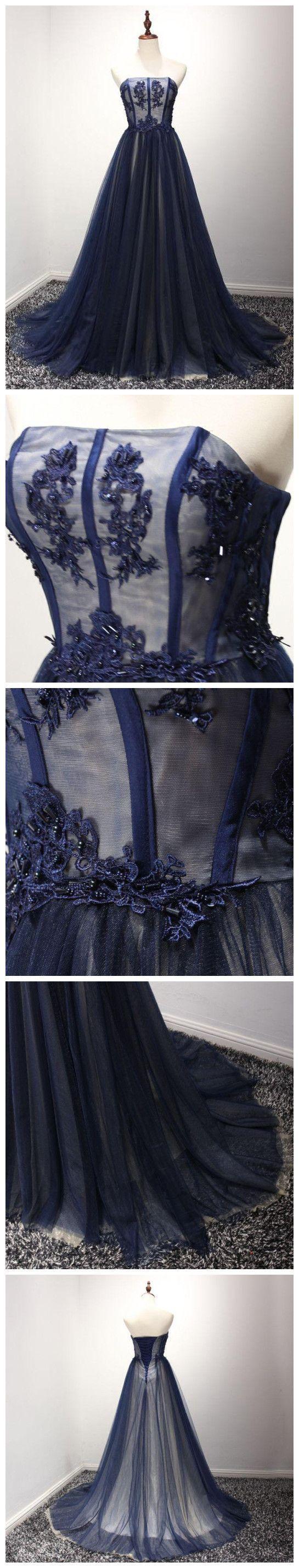 Stunning prom dress navy blue prom evening dressball gown prom