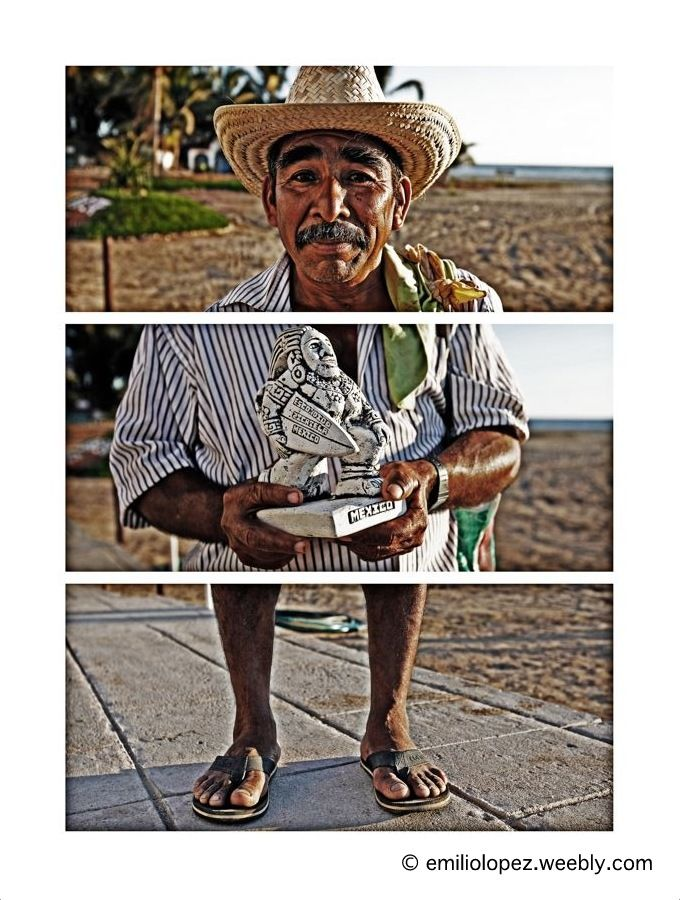 """Conoce a un desconocido, haz 3 fotos de diferentes partes de su cuerpo, haz una composición de una sola imagen y... ya no es un desconocido. Meet a stranger, take 3 different body pictures, make a composition of only one image, and... he/she is a stranger no more.  JUSTINIANO """"CARRIOLA"""", PUERTO ESCONDIDO, MEXICO."""