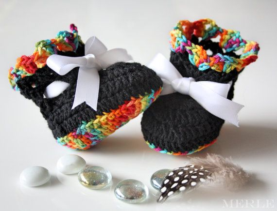 Hand crocheted Black and Rainbow coloured baby booties!