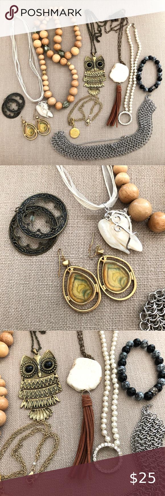 Boho Mixed Jewelry Lot Bundle 10 Pieces Necklaces