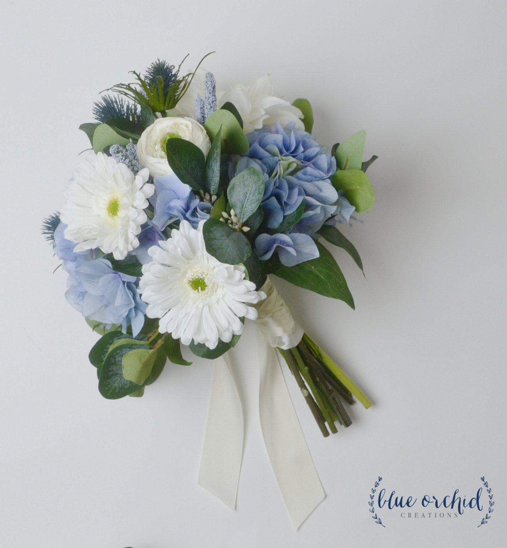 Blue Bouquet, Wedding Bouquet, Boho Bouquet, Daisy, Thistles, Silk ...