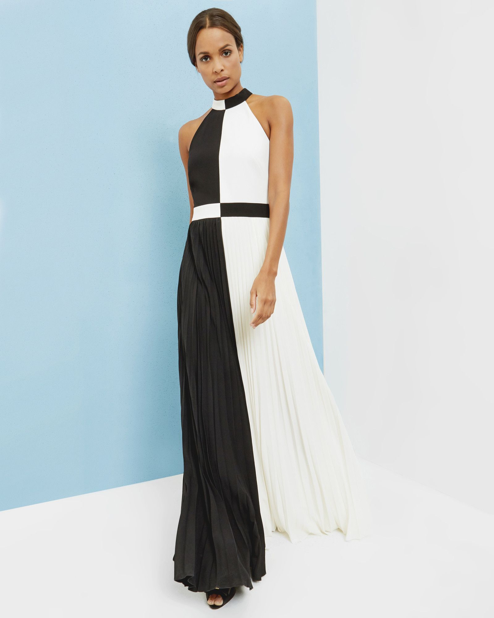 c90f81759282 Colour block maxi dress - Black