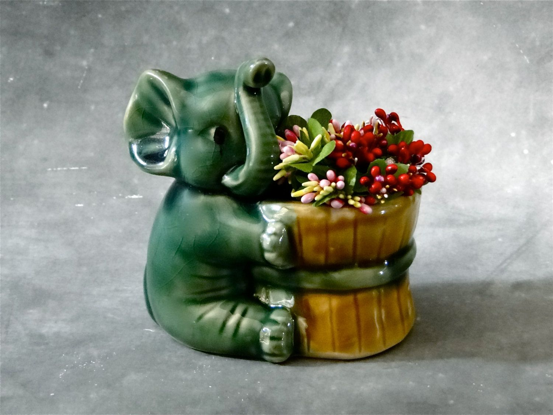 vintage elephant pottery planter 1950 s mid century home decor vintage elephant pottery planter 1950 s mid century home decor by sueellensflair on etsy