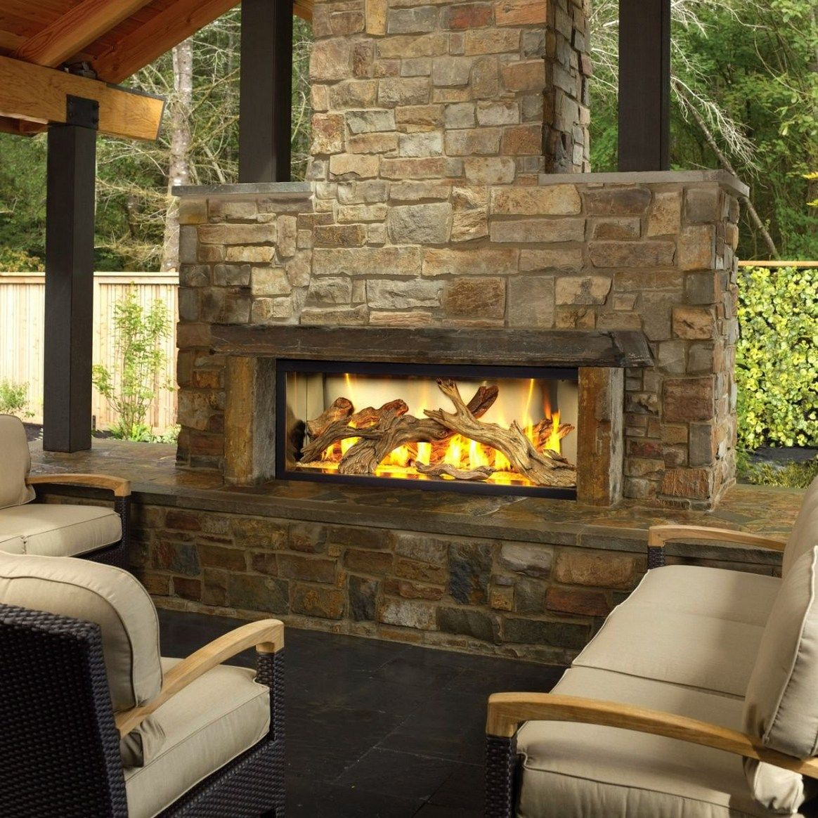 Luxury Outdoor Chat Area Mive Stone Faced Gas Fireplace