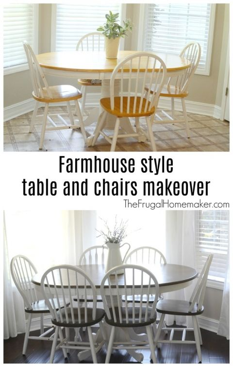 Butcher block table and chairs farmhouse style makeover is part of Painted dining room table - Your guide to turning your house into a home    one DIY project and yard sale find at a time