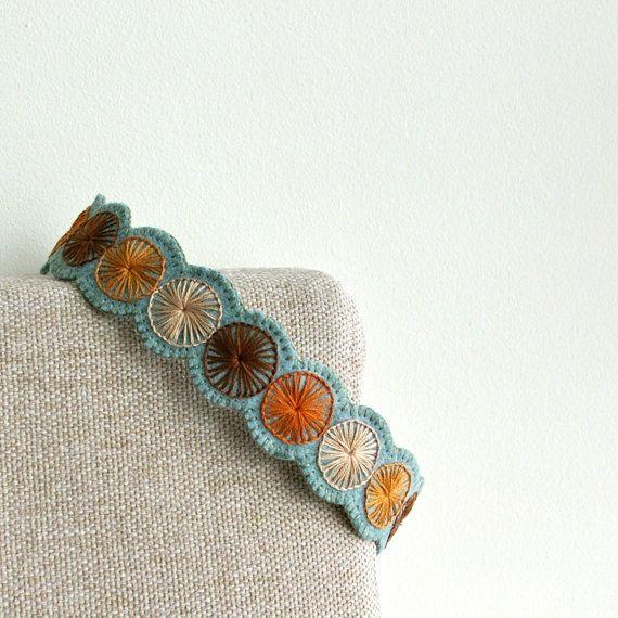 Penny Wool Felt Headband // Hand Embroidered by LoftFullOfGoodies, $26.00