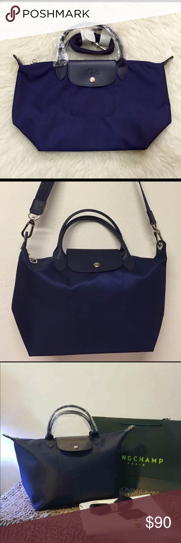 NAVY LONGCHAMP NEO LE PLIAGE Medium or small, brand new, authentic.  Longchamp Bags