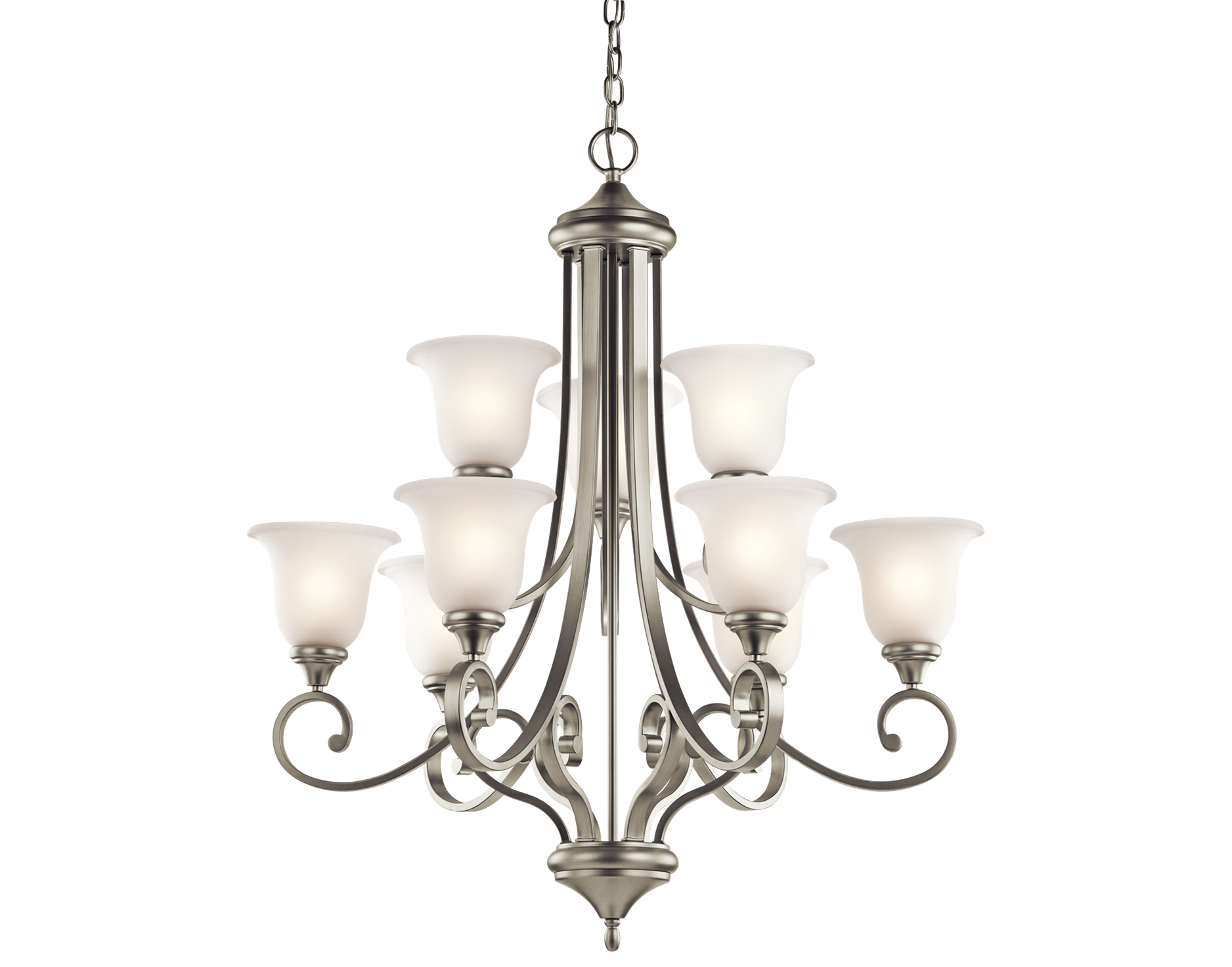 Group 3 Monroe Collection Dining Room Chandelier in Brushed