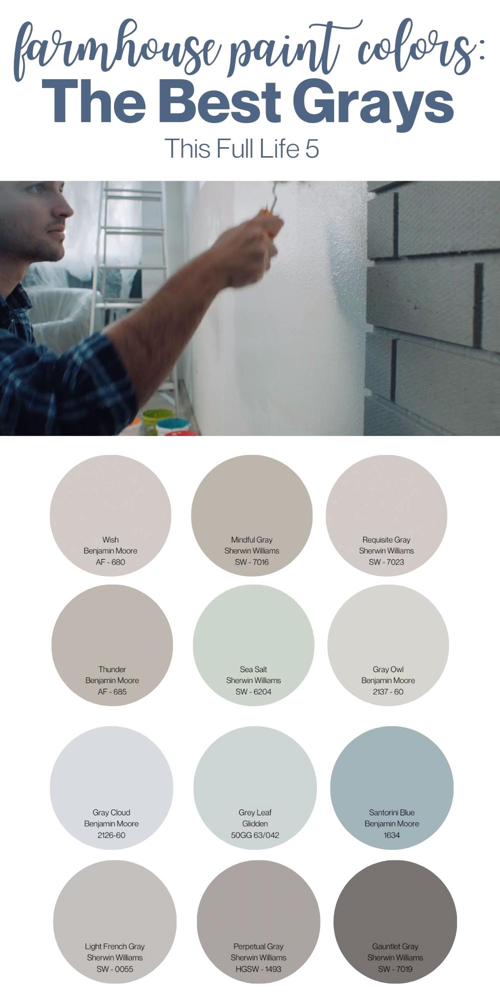 Farmhouse Paint Colors - 12 Best Gray Paints