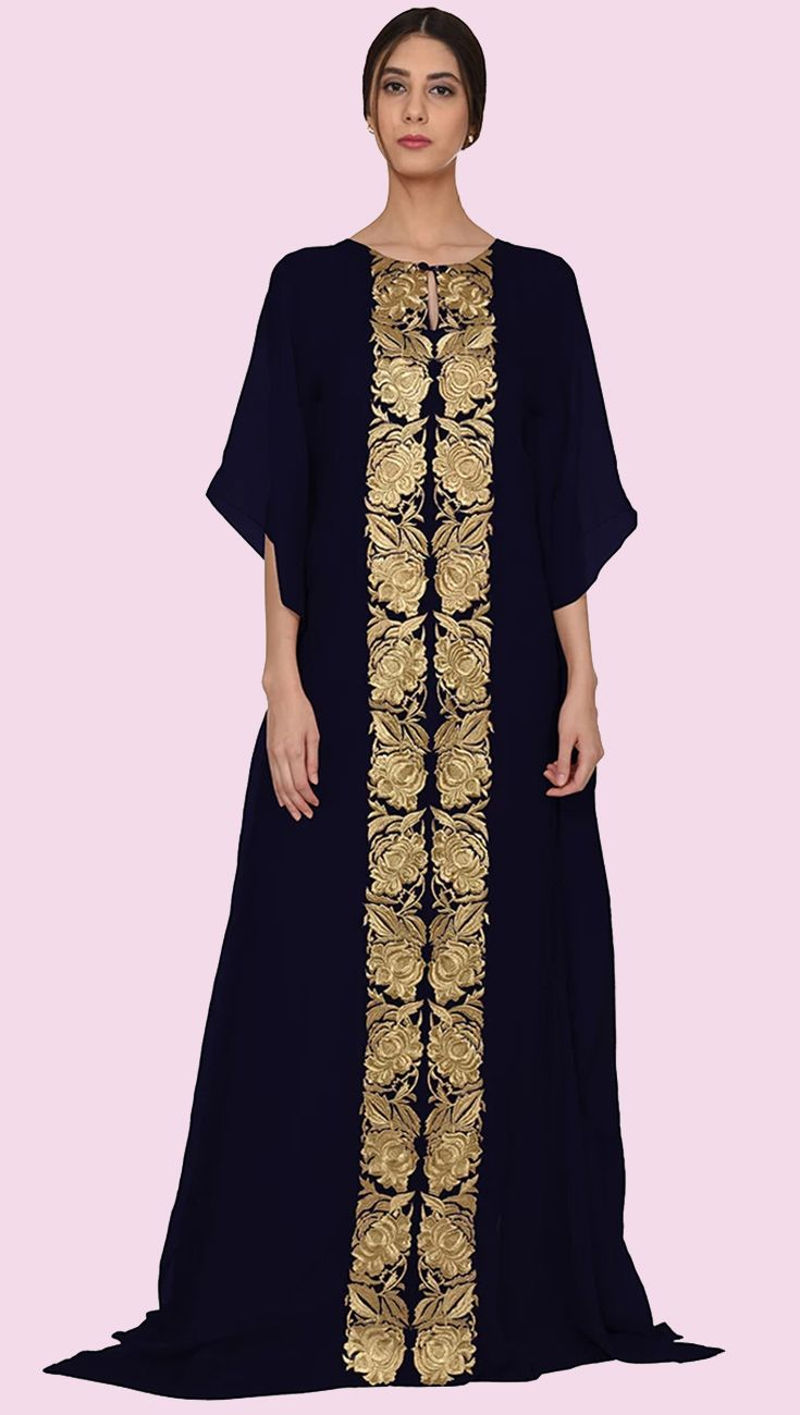 Midnight blue parsi floral zari embroidered kaftan gown luxury