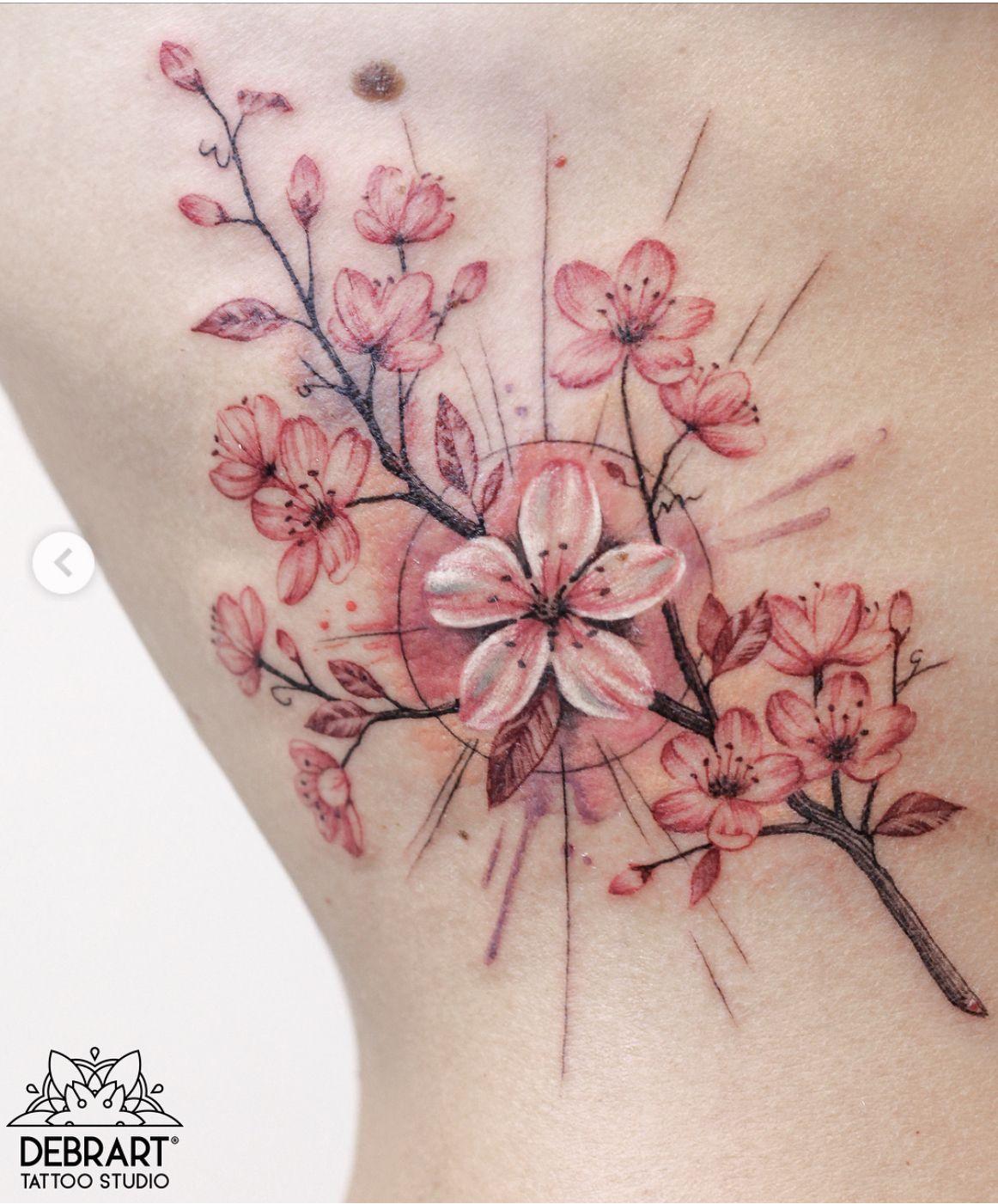 Cherry Blossom Tattoo Pink Flower Tattoos Lavender Tattoo Red