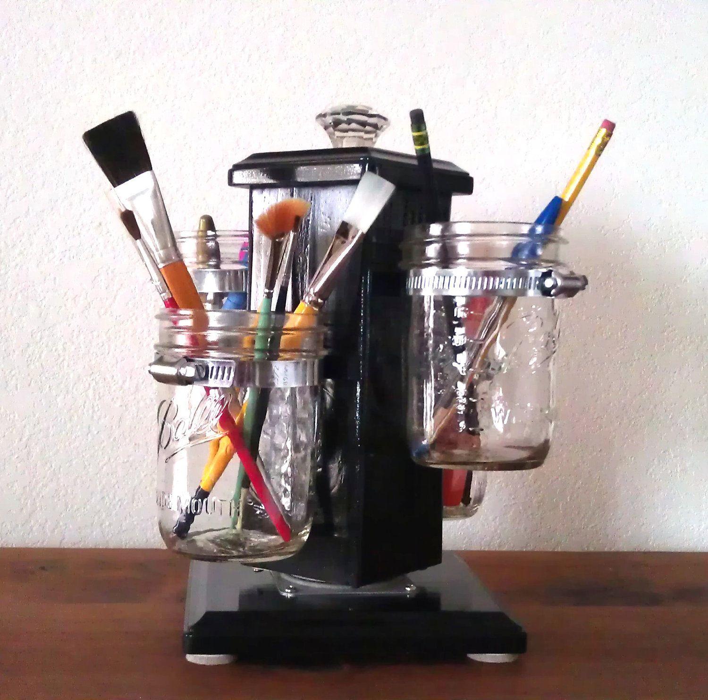 Ball Jar Desk Caddy, Desk Organizer, Utensil Caddy, Paint Brush, Pen, Pencil Holder, Make-up Organizer, Bathroom Caddy. $127.00, via Etsy.