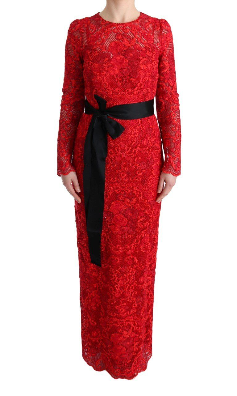 Red floral ricamo sheath long dress products pinterest products