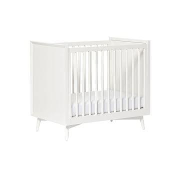 West Elm X Pbk Mid Century Mini Crib With Mattress White
