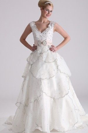 Length Ivory Beading Fall Romantic Exclusive Natural Waist Misses Wedding Dress