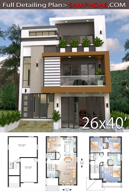 Home Design Plan 8x12m With 3 Bedrooms Samphoas Plan Latest House Designs Duplex House Design Bungalow House Design
