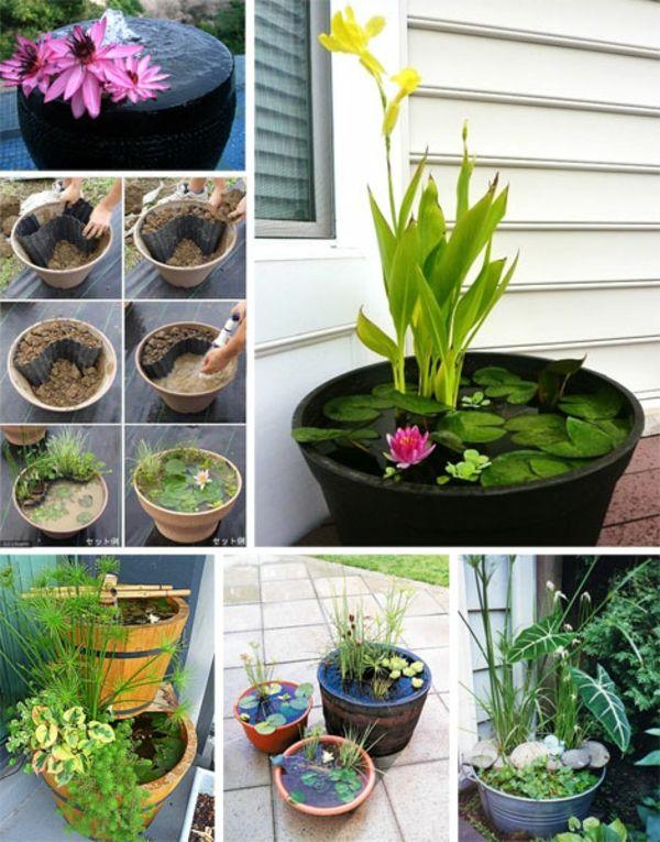 Design#5001357: Mini gartenteich bauen - kleine oasen im garten oder auf dem .... Miniaturgarten Pflanzkubel Balkon