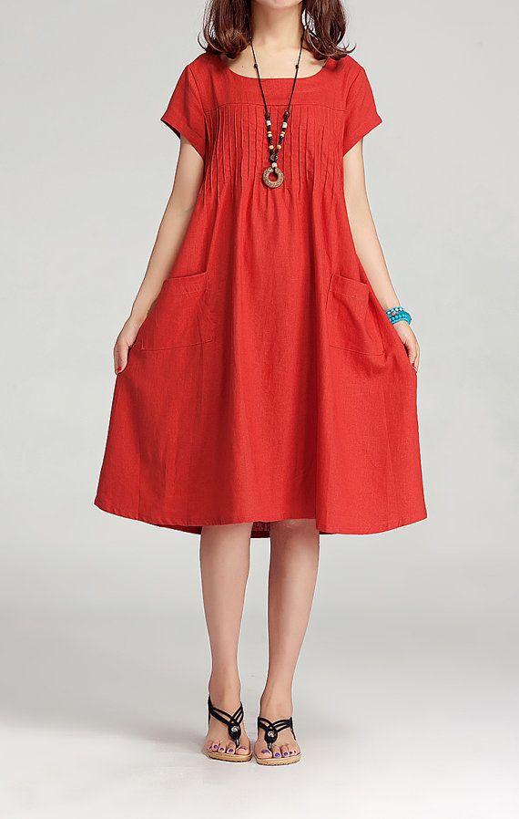 2014 Light Red Women Summer Dress Cotton Linen Loose ...