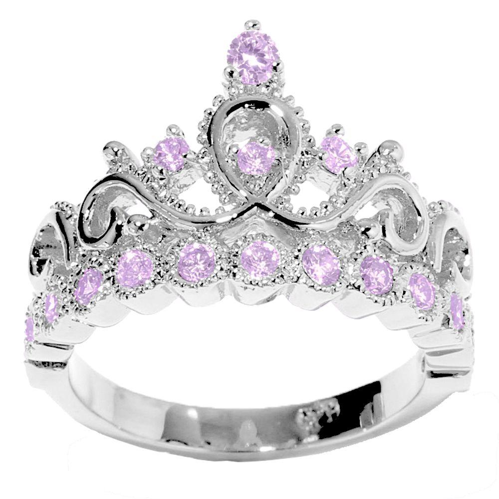 14K Gold Princess Crown Alexandrite Birthstone Ring (June