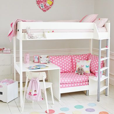 Merlin High Sleeper White with Pink Star sofa bed Quarto das