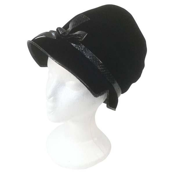1960s Christian Dior Chapeaux Black Velvet and Snakeskin Trim Mod Bonnet 232180bba29
