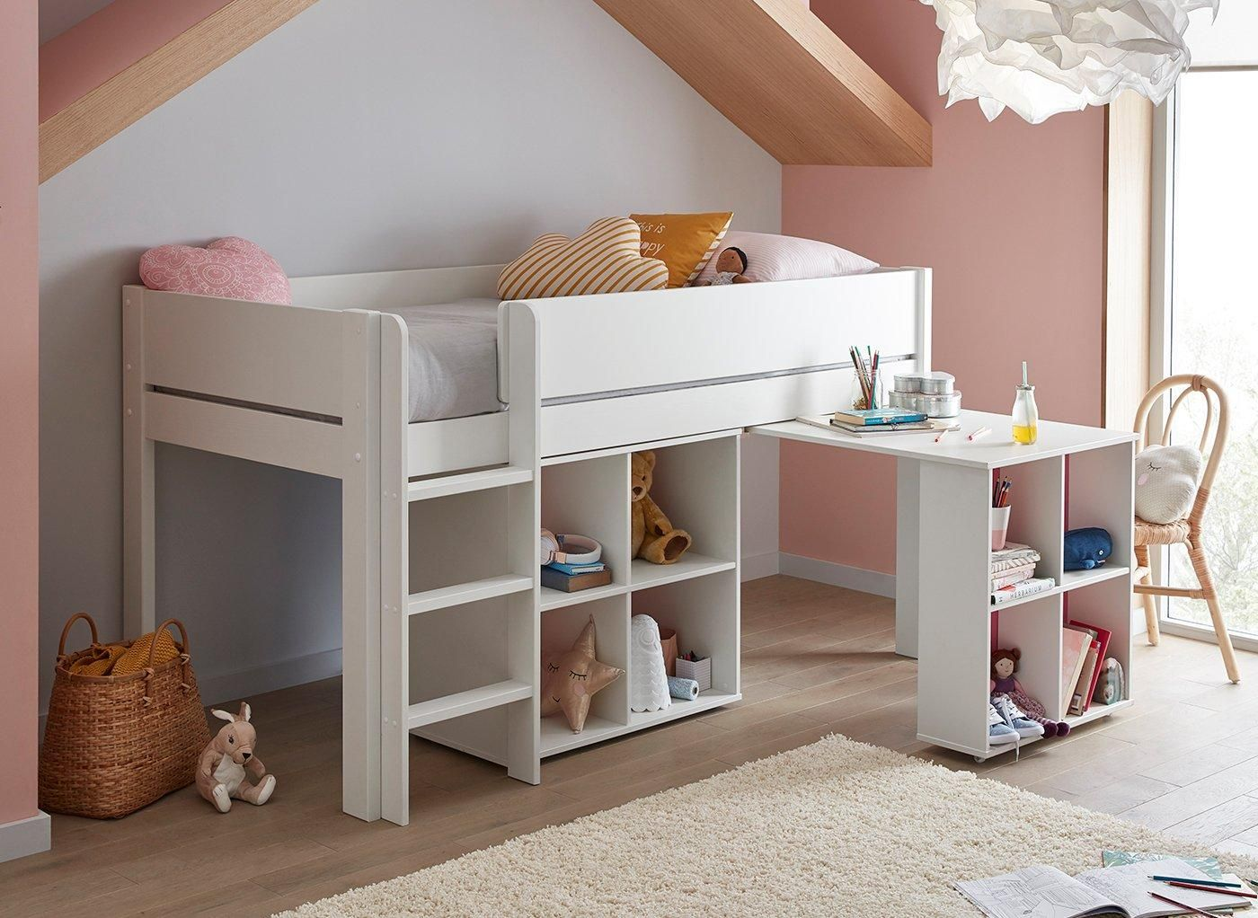 Tinsley Mid Sleeper Bed Frame With Storage Desk In 2020 Bed