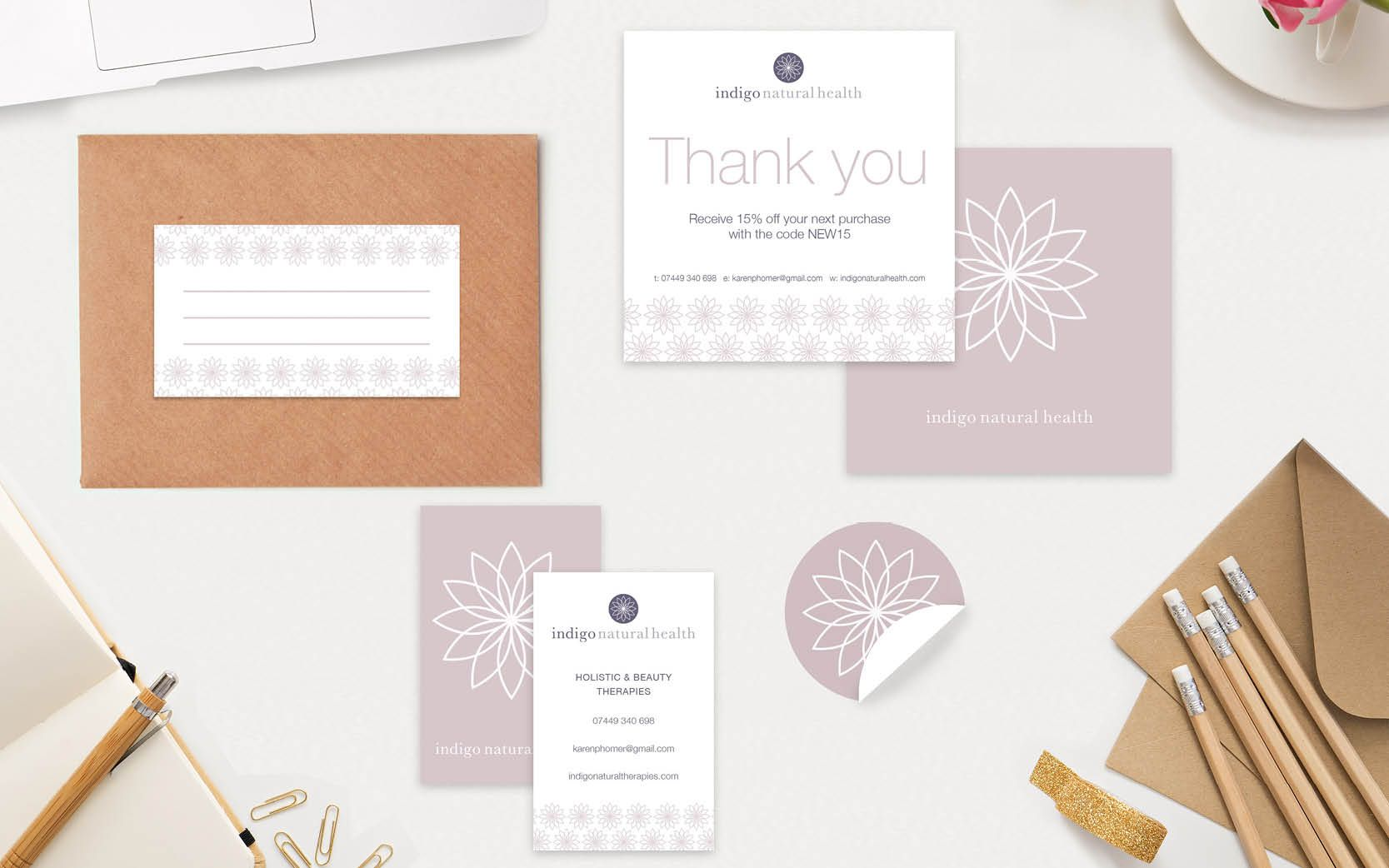 Etsy seller packaging design - includes branded stickers, business card, thank you note and address label design.