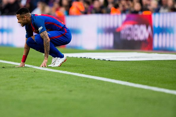 The FC Barcelona player Neymar da Silva from Brasil during the La Liga match between FC Barcelona vs Malaga CF at the Camp Nou stadium on November 19...