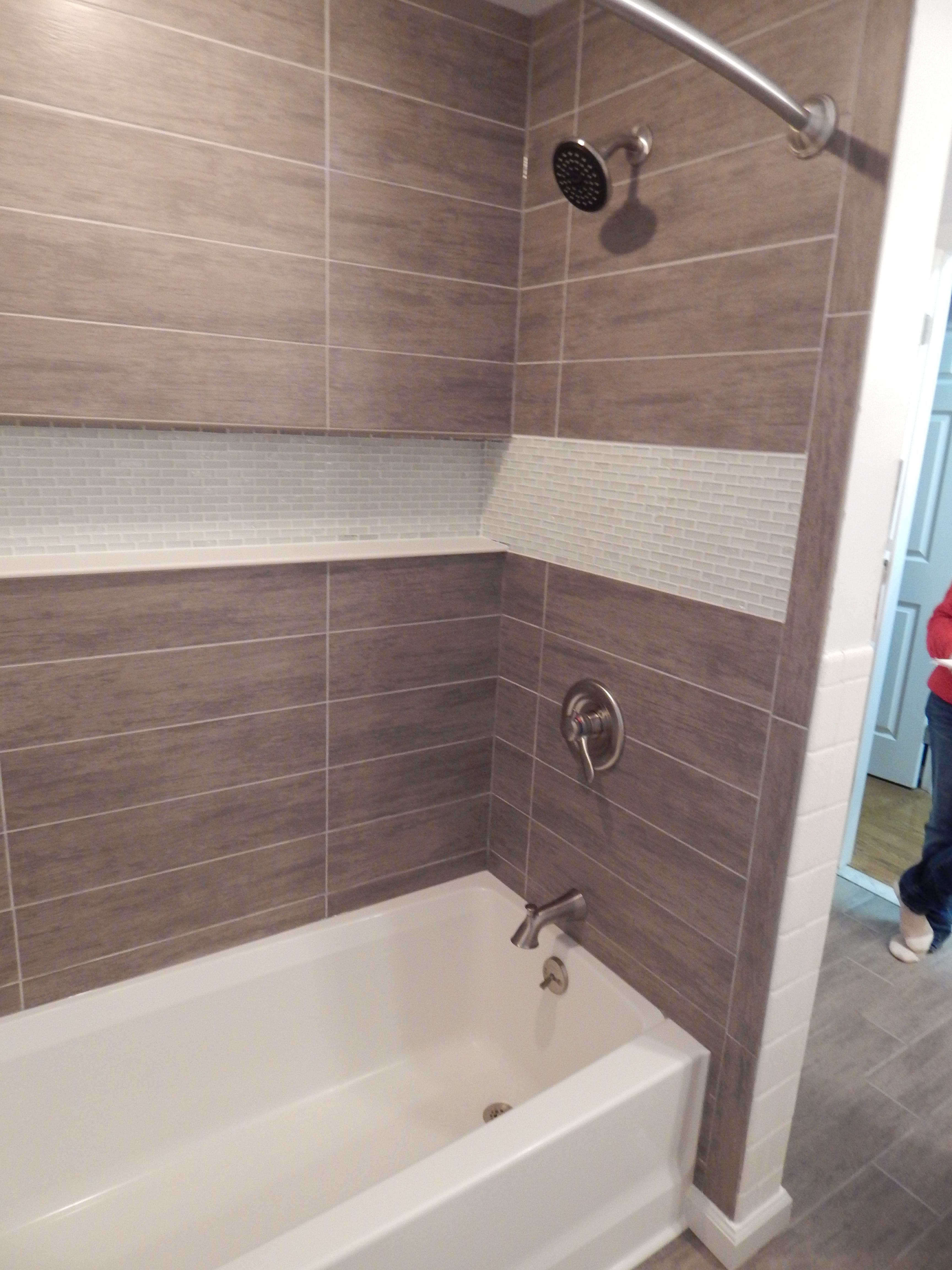 Custom tub and shower surround with with an integrated recessed tile ...