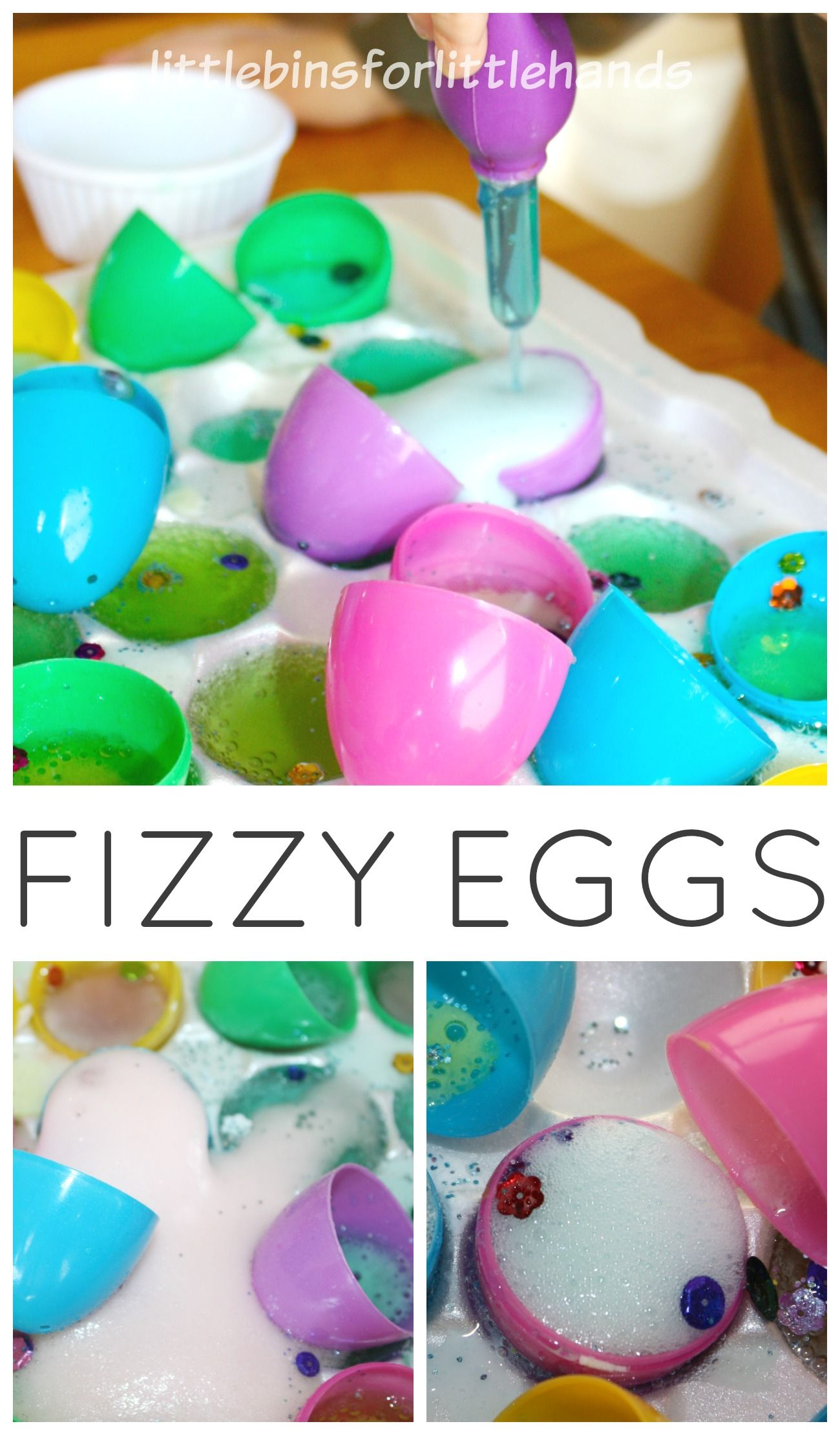 Baking Soda And Vinegar Rainbow Easter Eggs