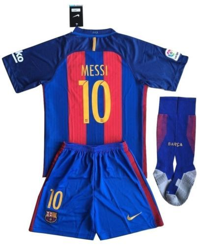 Barcelona Soccer Uniform Messi  10 Set Socks Shirt Shorts Kids Youths 9-10 81c5911005a