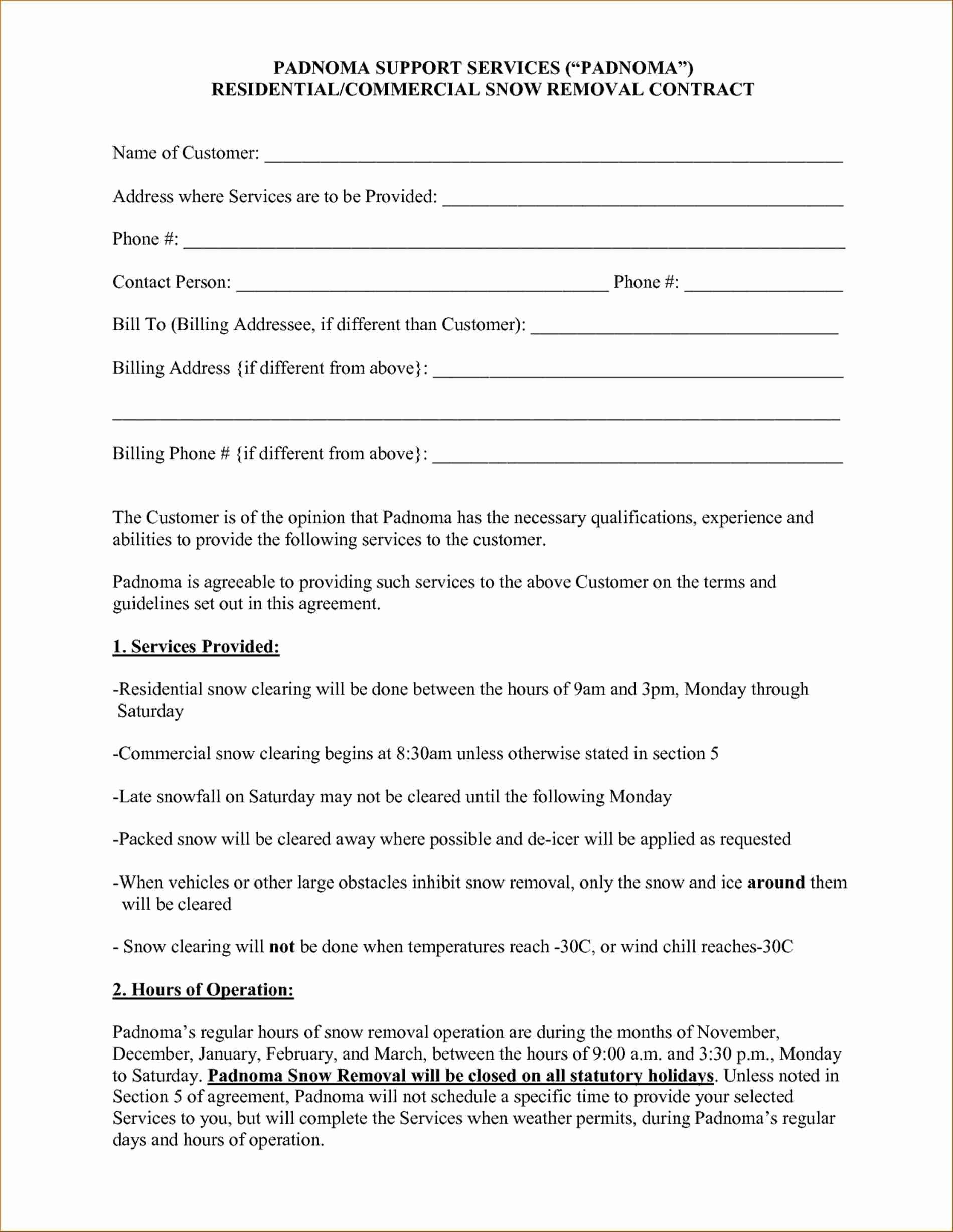 46 Inspirational Residential Snow Removal Contract Template In