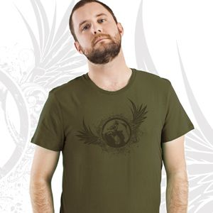 MENS GORILLA WINGS TEE   One color Gorilla Wings image screen printed on front, small one-color PDI Clothing logo printed on top back.  This 4.3 oz. super-soft blended CVC crew t-shirt is made of 60% combed ring-spun cotton/40% polyester. Fabric laundered for reduced shrinkage. Available at www.pdiclothing.com Sizes: XS – 4XL. Available Colors: Military Green, Charcoal Grey  Price: $19.99