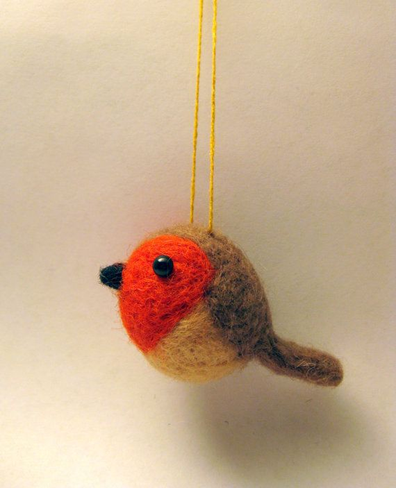 Bird Ornament - Needle Felted Animal - Christmas Ornament