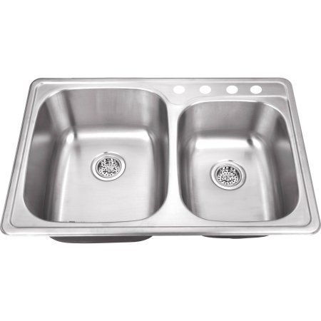 Magnus Sinks 33 1 8 Inch X 22 Inch 20 Gauge Stainless Steel Double Bowl Kitchen Sink Products Double Bowl Kitchen Sink Drop In Kitchen Sink Sink